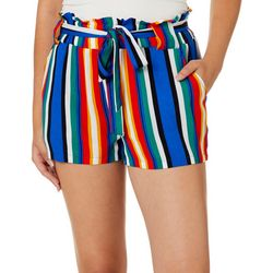 SSS Clothing Juniors Striped Paperbag Waist Shorts