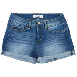 KanCan Juniors Medium Wash Cuffed Denim Shorts