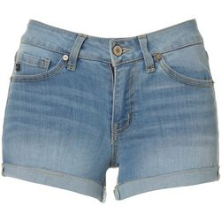 KanCan Juniors Light Wash Cuffed Denim Shorts