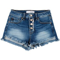 KanCan Juniors Button Fly High-Rise Denim Shorts