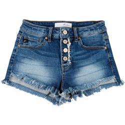 Juniors Button Fly High-Rise Denim Shorts
