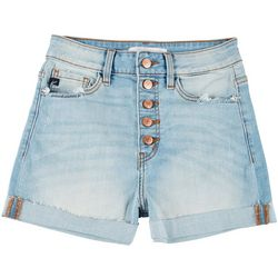 KanCan Juniors Button Fly Cuffed Denim Shorts
