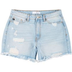 KanCan Juniors Rainbow Distressed Denim Shorts