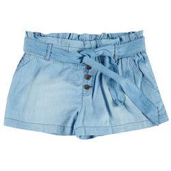 Rewash Juniors Solid Denim Tie Fabric Shorts