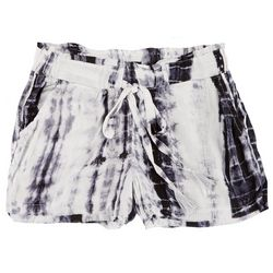 Rewash Juniors Tie Dye Tassel Fabric Shorts