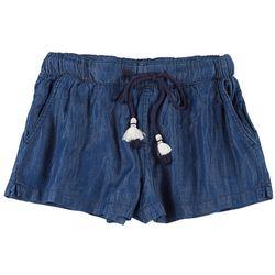 Rewash Juniors Solid Tassel Fabric Shorts