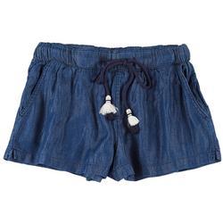 Juniors Solid Tassel Fabric Shorts