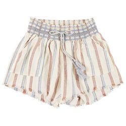 Rewash Juniors Stripe Smocked Tassel Shorts