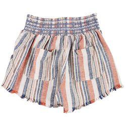 Rewash Juniors Asymmetrical Stripe Smocked Tassel Shorts