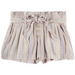 Rewash Juniors Flower Stripe Fabric Shorts