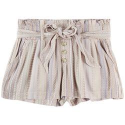Juniors Flower Stripe Fabric Shorts