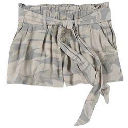 Rewash Juniors Camo Button Tie Fabric Shorts