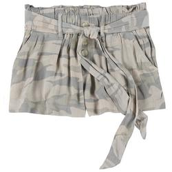 Juniors Camo Button Tie Fabric Shorts