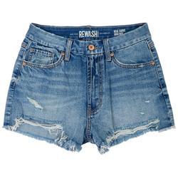 Juniors Teal Curves Denim Shorts