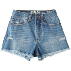 Rewash Juniors Frayed Distressed All-in-One Shorts