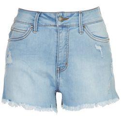 Rewash Juniors High Waisted Mom Distressed Shorts
