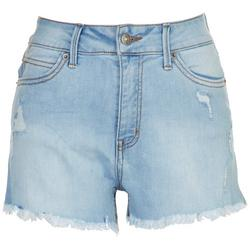 Juniors High Waisted Mom Distressed Shorts