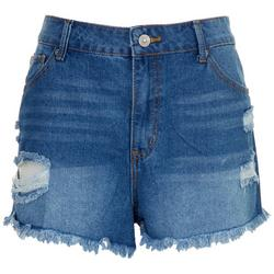 Juniors High Waisted Wedge Distressed Shorts