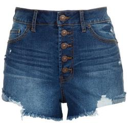Juniors 5-button Waist Closure Denim Shorts