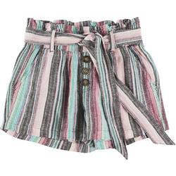 Juniors Striped Button Tie Linen Shorts