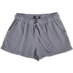 Juniors Frayed Hem Linen Shorts