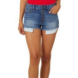 Rewash Juniors Riley High Waist Button Front Shorts