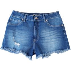 Rewash Juniors Frayed Bottom Hem High Rise Shorts