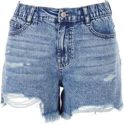 Rewash Juniors Retro Wedge Distressed Shorts