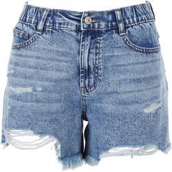 Juniors Retro Wedge Distressed Shorts