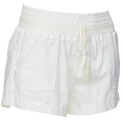 Juniors Solid Linen Shorts
