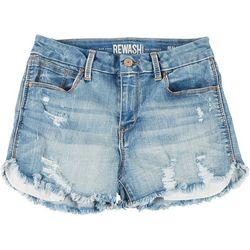 Juniors Frayed Hem High Rise Curved Shorts