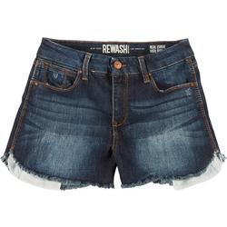 Juniors Frayed High Rise Denim Shorts