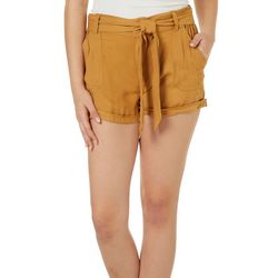 Rewash Juniors Belted Solid Roll Cuff Shorts