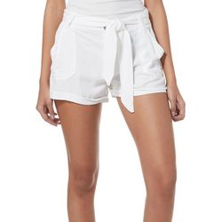 Rewash Juniors Belted Solid Roll Cuff Shorts