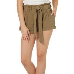 Rewash Juniors Belted Solid Roll Cuff Paperbag Shorts