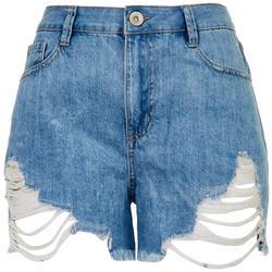 Juniors Retro Wedge High Rise Shorts