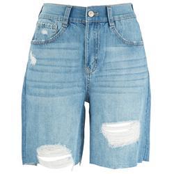 Juniors Distressed High Rise Bermuda Shorts