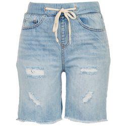 Rewash Juniors Distressed High Rise Pull-On Shorts