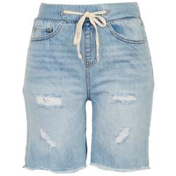 Juniors Distressed High Rise Pull-On Shorts