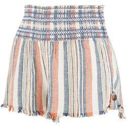 Rewash Juniors Embroidery Smocked Waistline Shorts