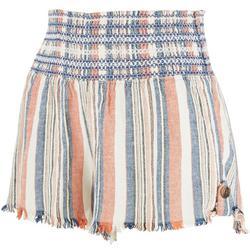 Juniors Embroidery Smocked Waistline Shorts