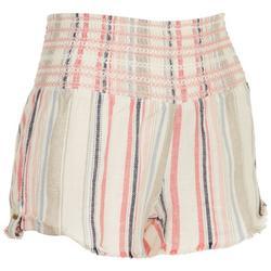 Juniors Stripes Linen Beach Shorts