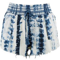 Juniors Tie-Dye Raw Edge Shorts