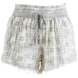 Juniors Drawstring Smocked Printed Raw Edge Shorts