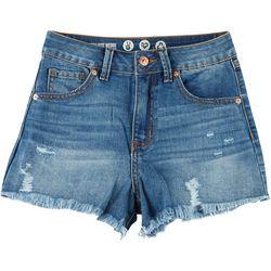 Rewash Juniors Wedge High Rise Frayed Hem Shorts