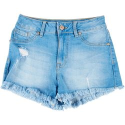 Rewash Juniors Frayed Hem Mid-Rise Real Curve Shorts