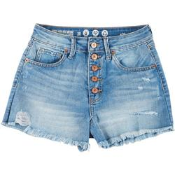 Juniors High Waist Button Front Shorts