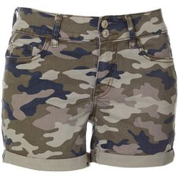 Juniors Camo Roll Cuff Shorts