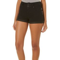 Blue Spice Juniors Double Button Roll Cuff Denim Shorts