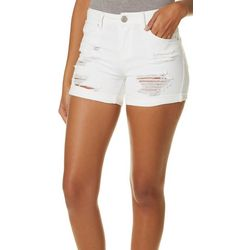 Elite Jeans Juniors Solid Destructed Roll Cuff Shorts